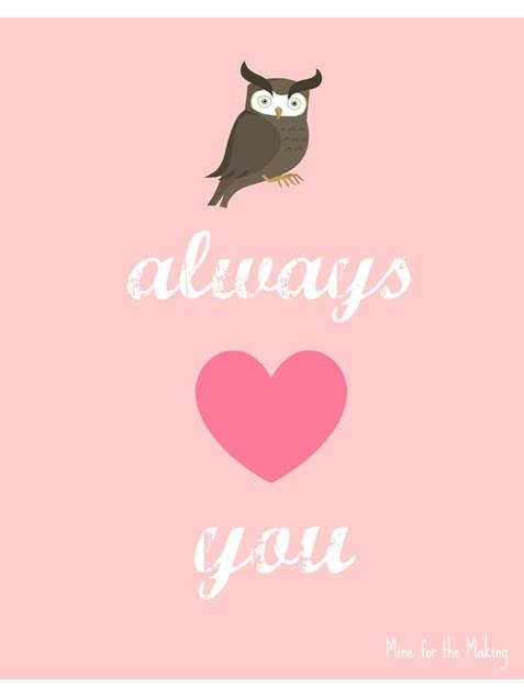 Owl Valentine Free Valentine's Day Printables savingmorethanme.com