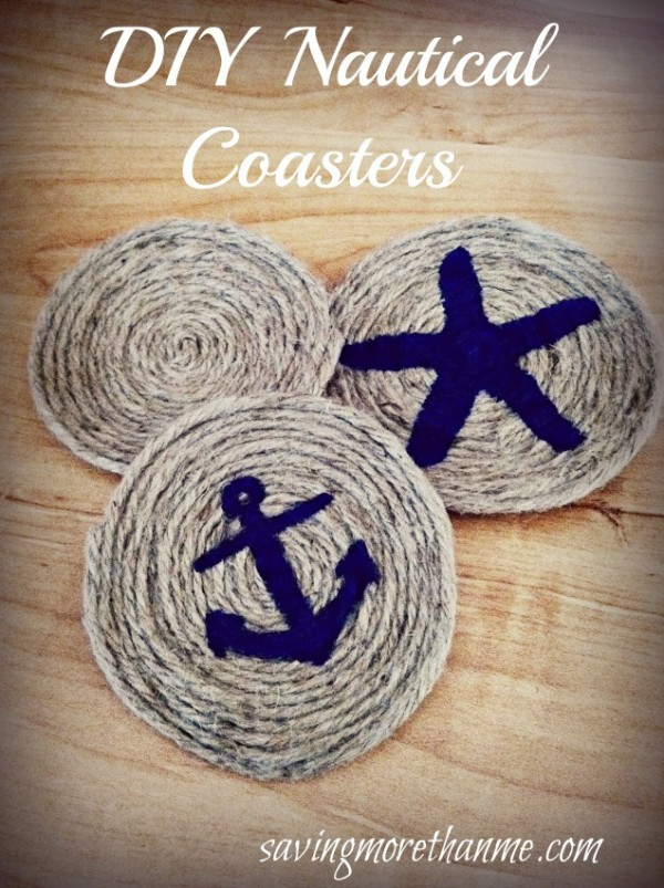 DIY Nautical-Themed Rope Coasters #crafts savingmorethanme.com