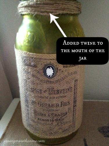 savingmorethanme.com Added twine to the mouth of the jar