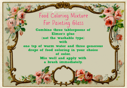 savingmorethanme.com Food coloring mixture for painting glass