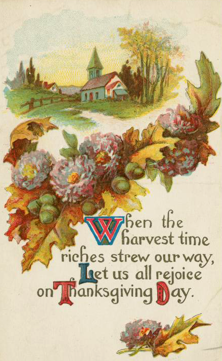 Free vintage image from savingmorethanme.com--1914 thanksgiving postcard
