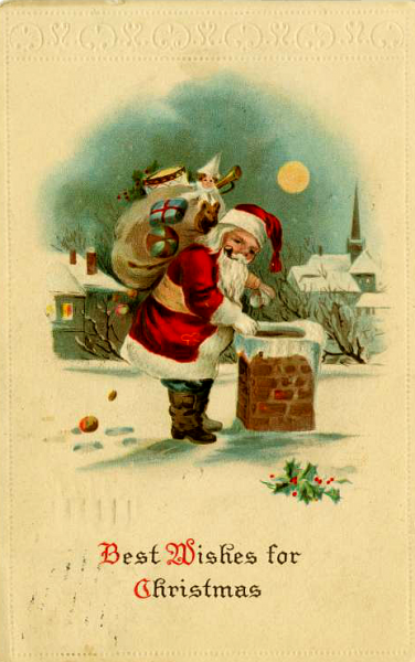 santa and the chimney 1916 vintage postcard image savingmorethanme.com