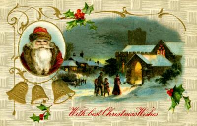 santa firelit home vintage image from 1908 savingmorethanme.com
