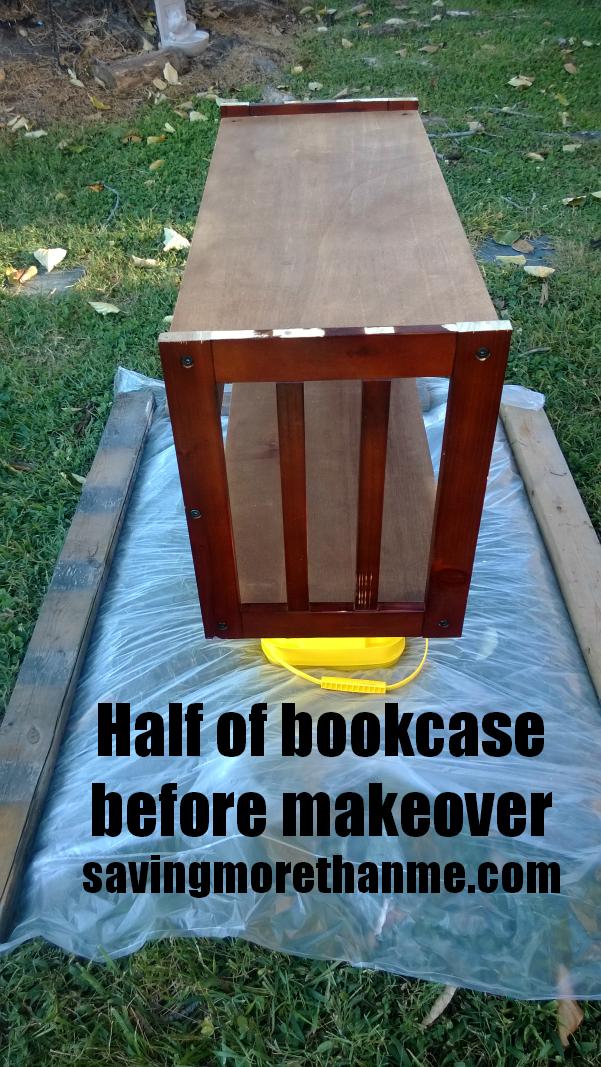 Bookcase before makeover savingmorethanme.com