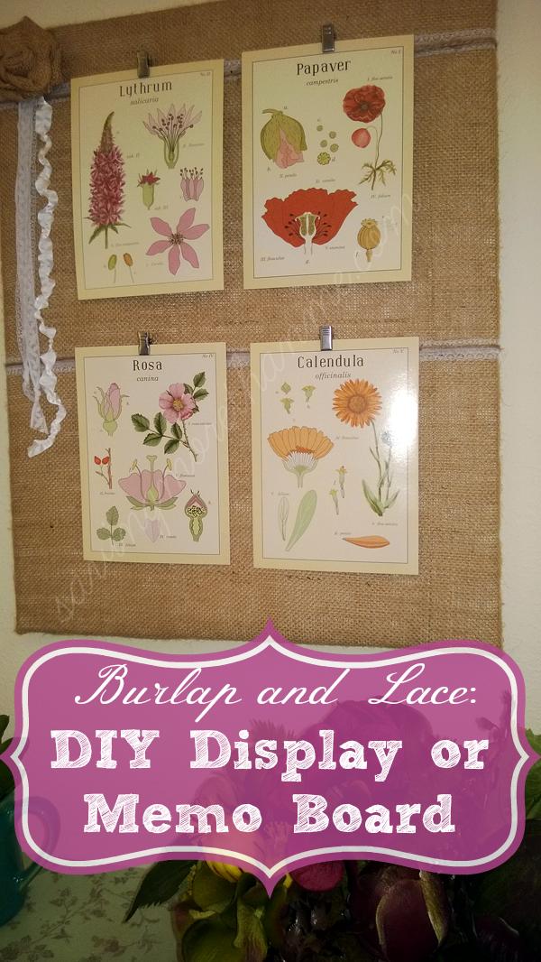Burlap and Lace DIY Display or Memo Board savingmorethanme