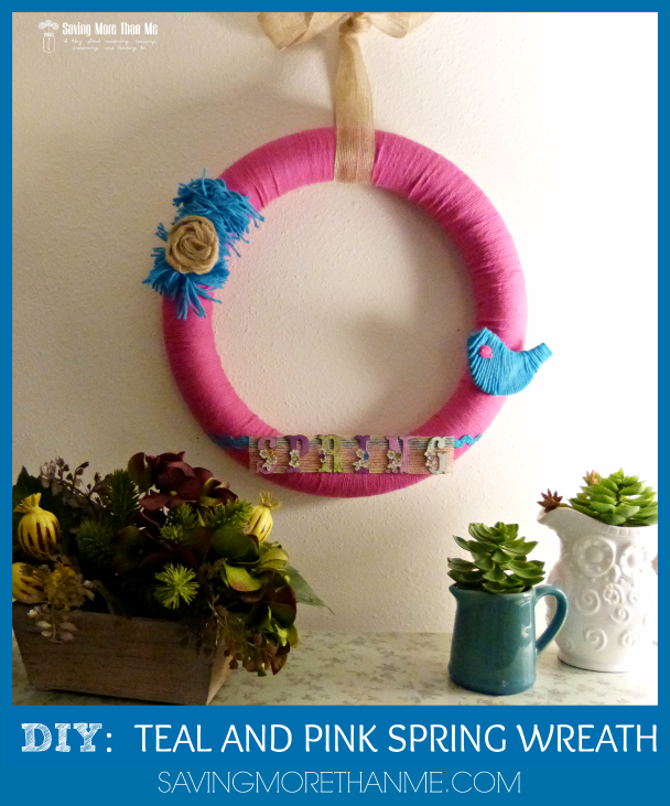 DIY  TEAL AND PINK SPRING WREATH savingmorethanme.com #crafts #spring