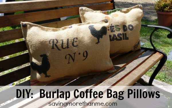 DIY  Burlap Coffee Sack Pillows savingmorethanme.com