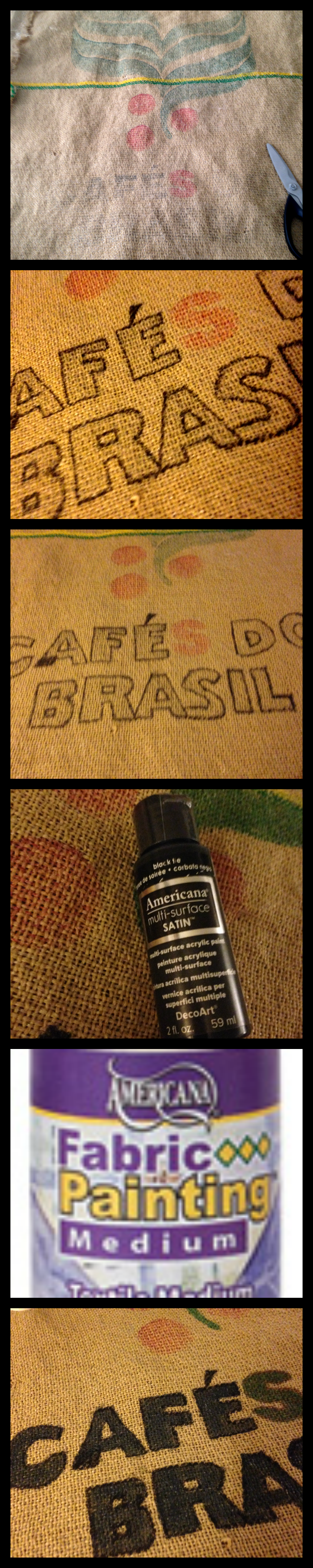 Steps to paint in cafes do brasil on burlap coffee bag savingmorethanme.com #diy