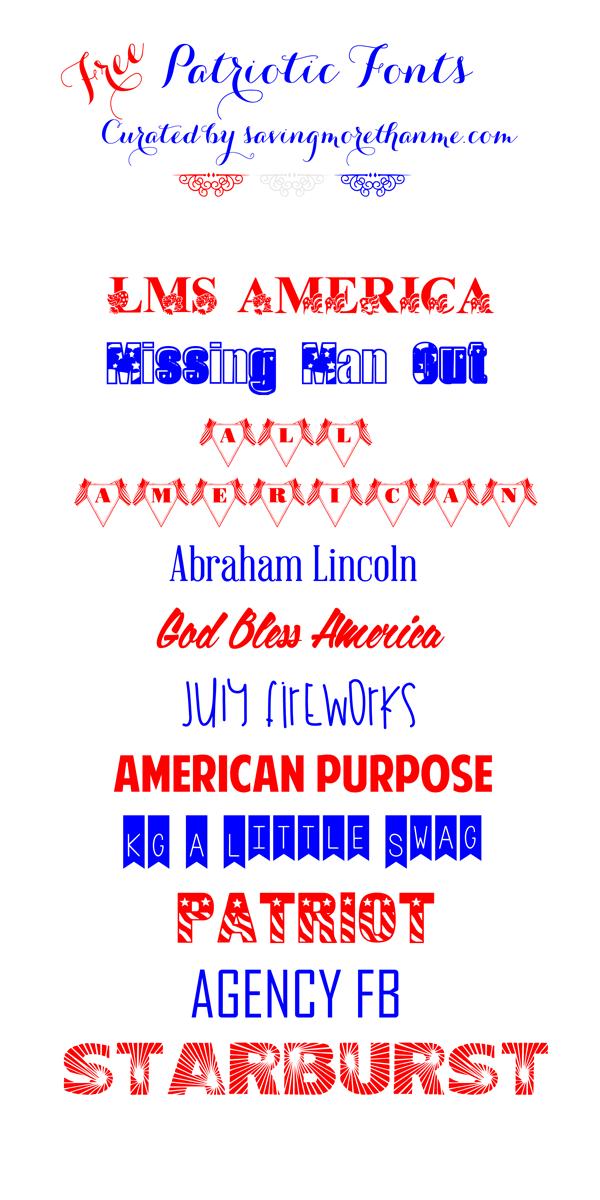 FREE Patriotic Fonts | winterandsparrow.com #4thofjulyfonts #americanfonts #americana