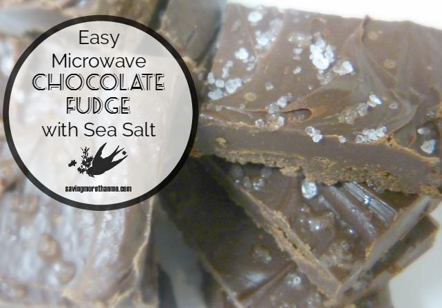 Easy Microwave Chocolate Fudge with Sea Salt savingmorethanme.com #recipes #chocolate