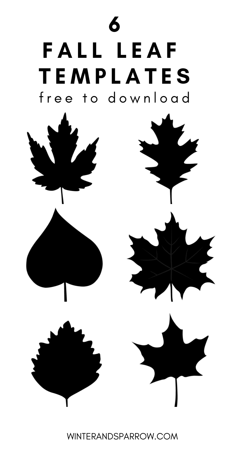6 free fall leaf templates winter and sparrow