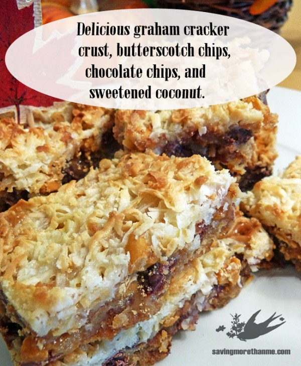 Make these classic seven layer cookie bars with a few simple steps. Easy and delicious! savingmorethanme.com