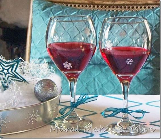stencil snowflake wine goblets