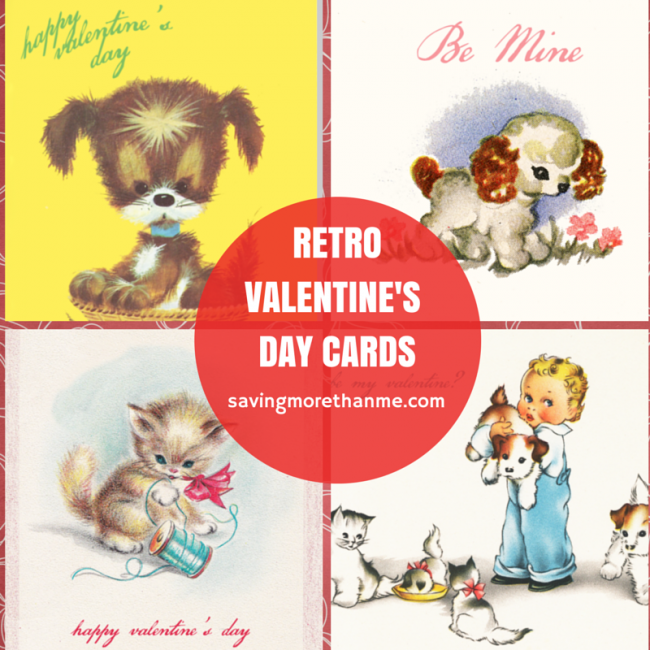 Four Retro Valentine's Day Cards {free downloads} #valentinesday savingmorethanme.com