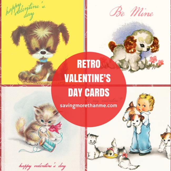 Four Retro Valentine's Day Cards {free downloads} #valentinesday savingmorethanme.com