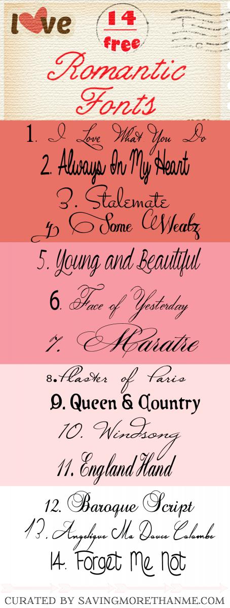 14 Free Romantic Fonts + I Love You More Than Chocolate Printable savingmorethanme.com