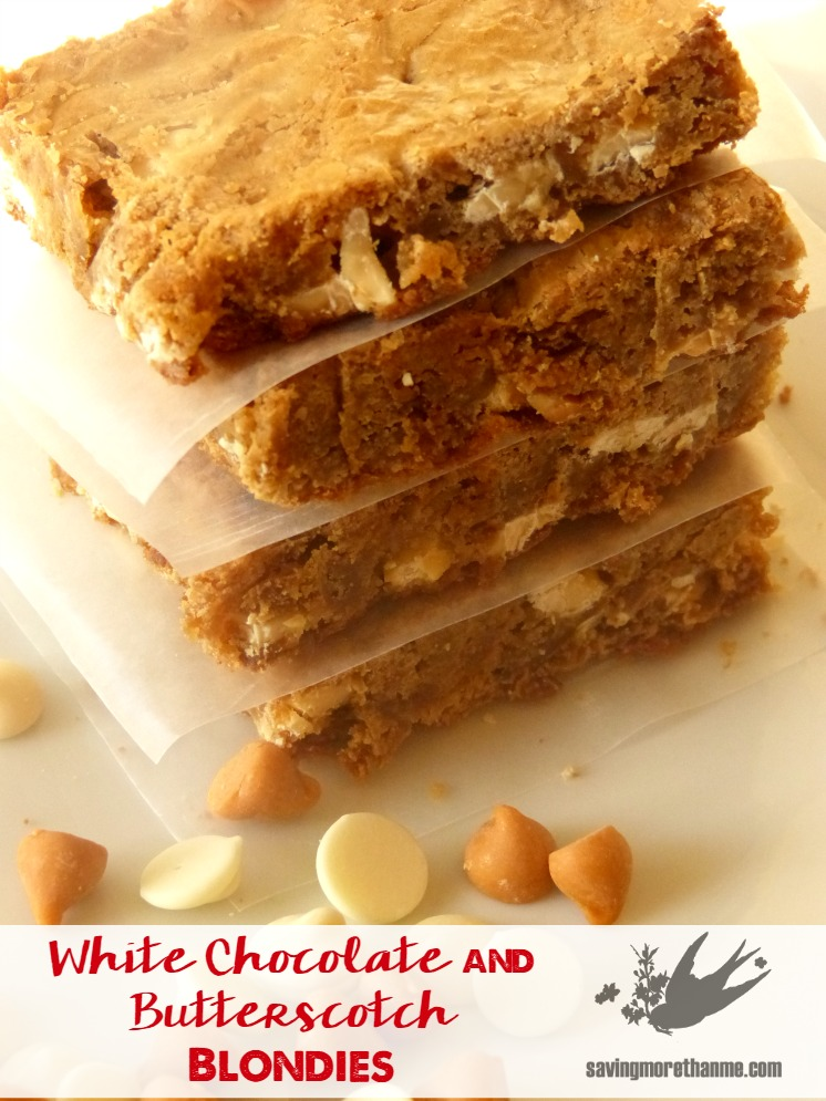 White Chocolate and Butterscotch Blondies #recipes savingmorethanme.com