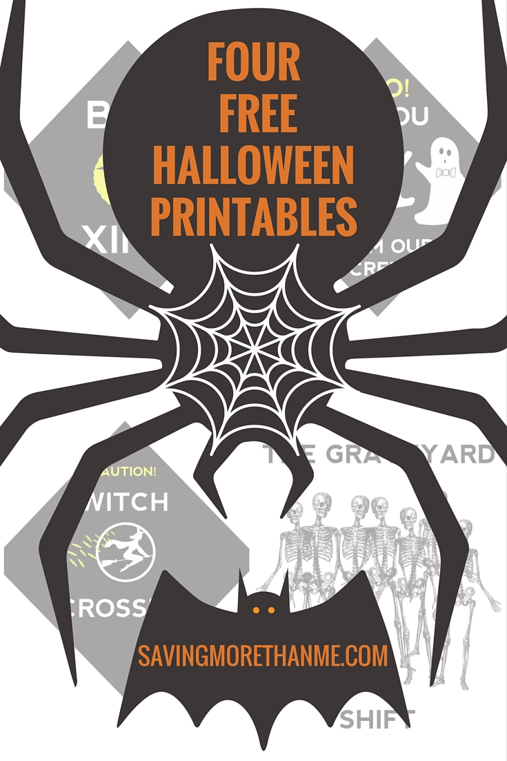 4 Free Halloween Printables: Bat Xing, Witch Crossing + 2 More #halloween