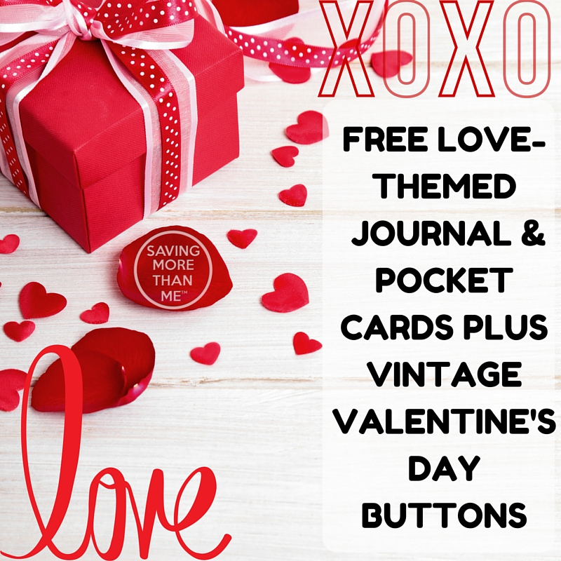 Love-Themed journal and pocket cards + vintage valentine's day buttons