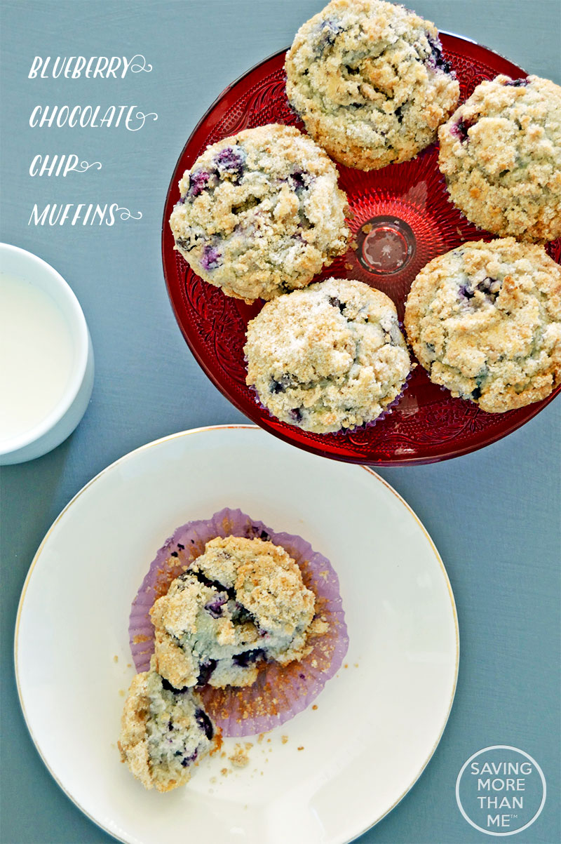 Blueberry Chocolate Chip Muffins #recipes