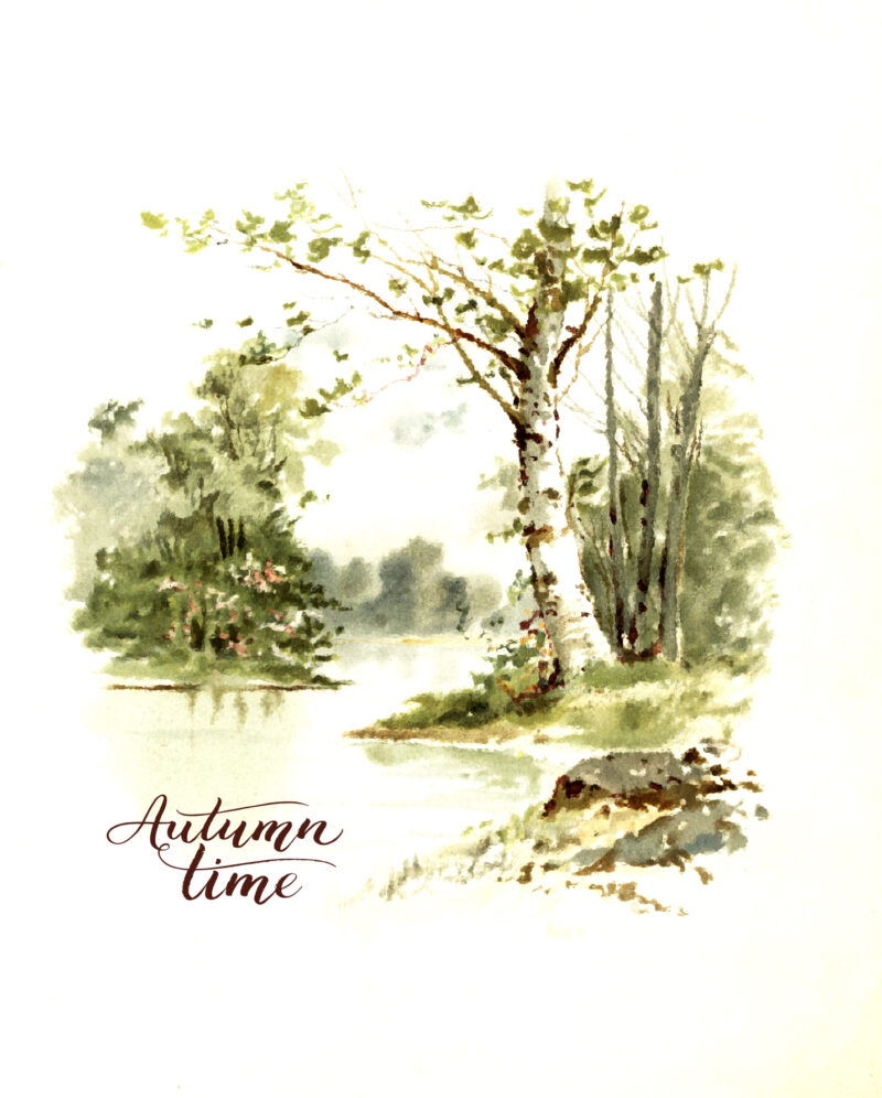 Eight Free Autumn Art Vintage Printables autumn-scene-2-words