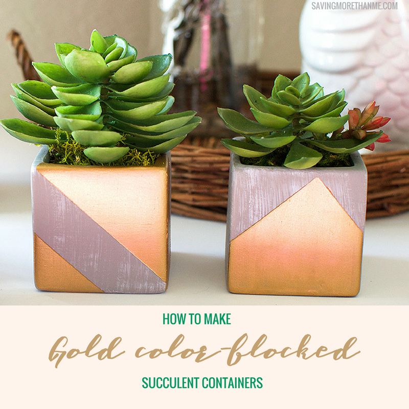 How To Make Gold Color-Blocked Succulent Containers #DIY