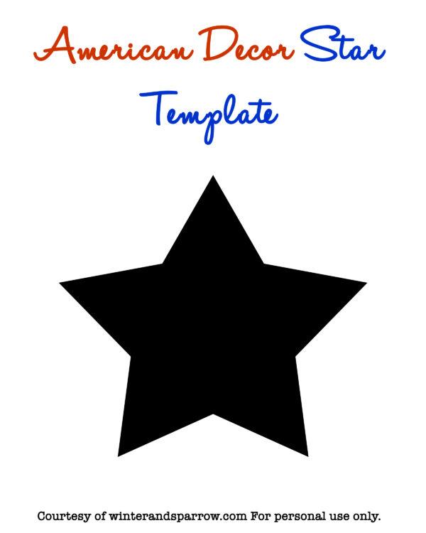 FREE American Decor Star Template: Easy Americana Decor Wreath #DIY