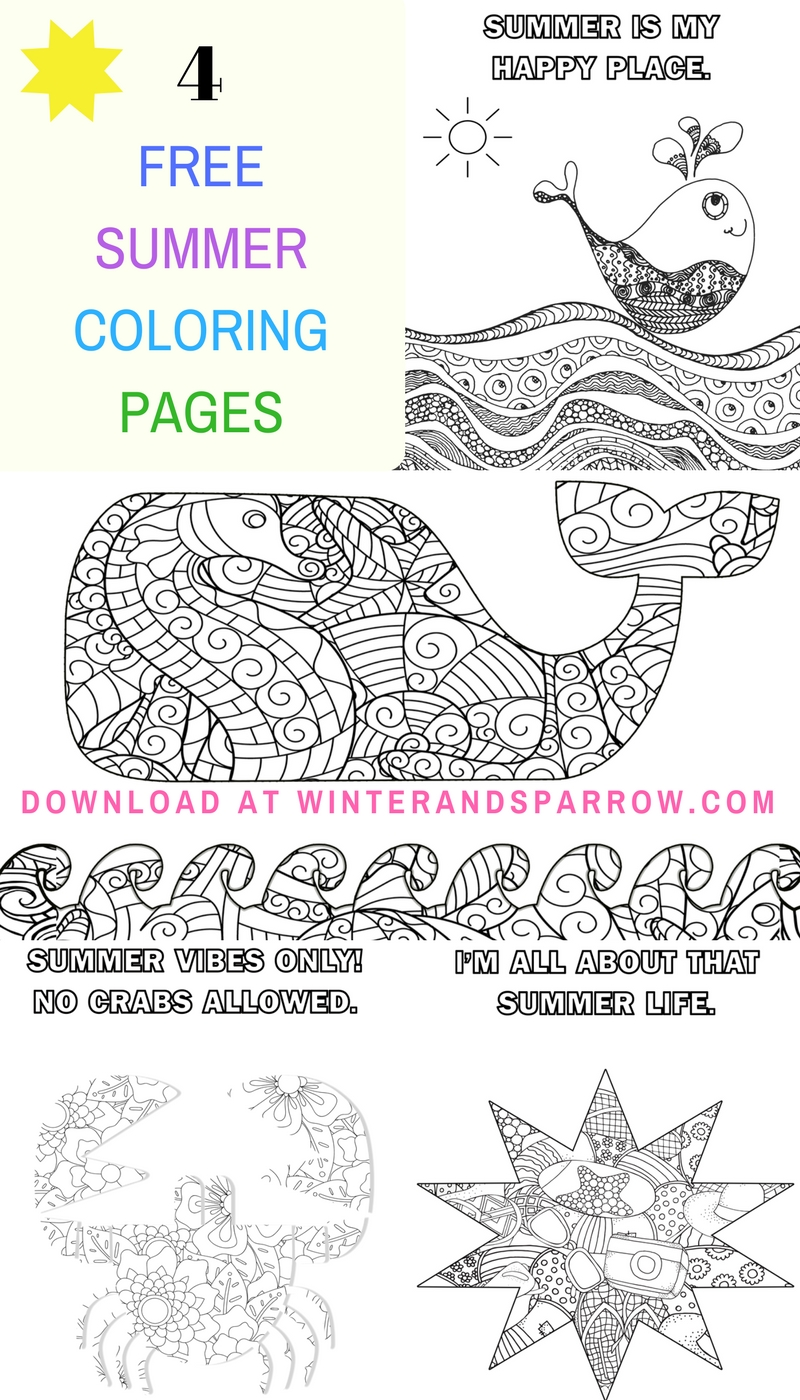 Four Free Summer Coloring Pages Summer Winter And Sparrow