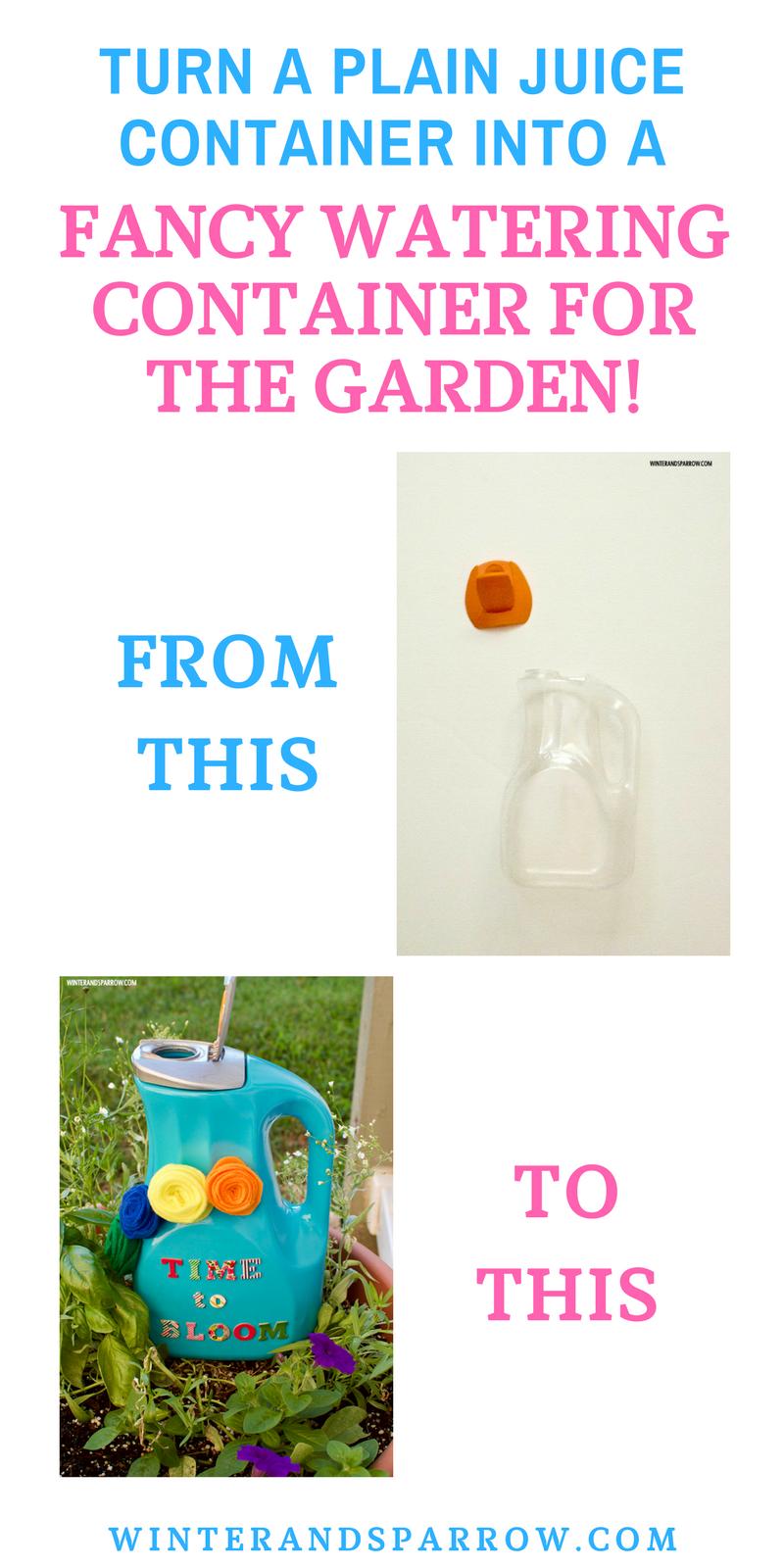 DIY: From Juice Container To Fancy Watering Container winterandsparrow.com