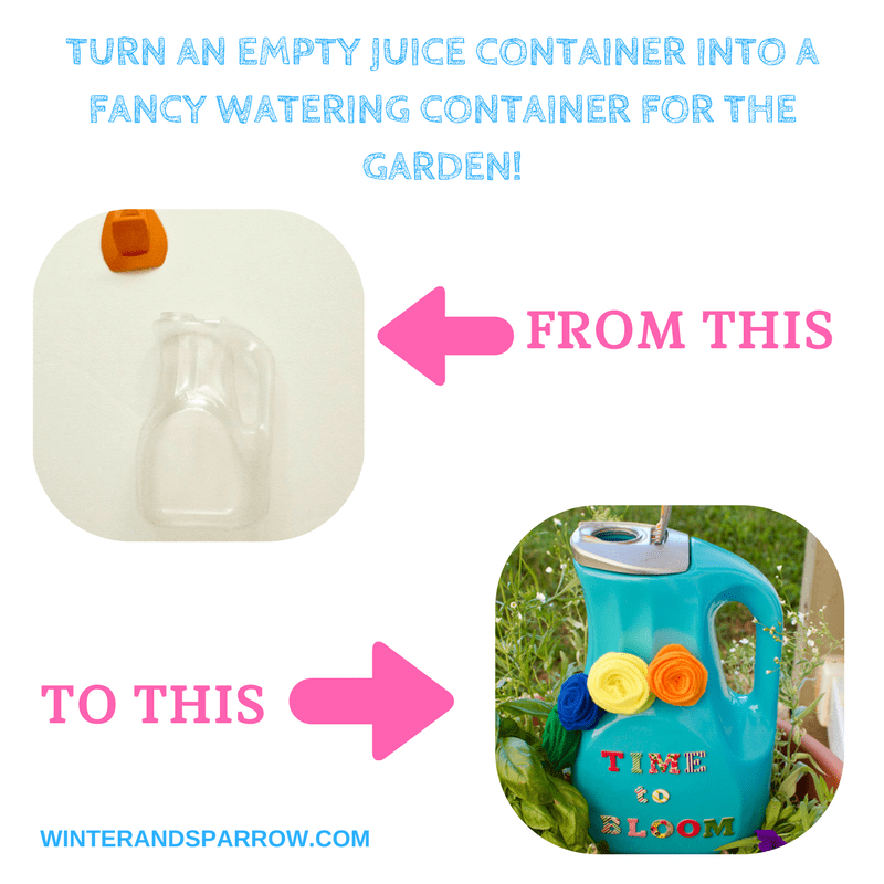 DIY:  From Juice Container To Fancy Watering Container