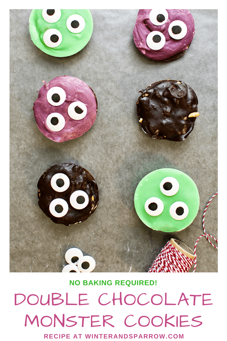 Double Chocolate Monster Cookies #Halloween winterandsparrow.com