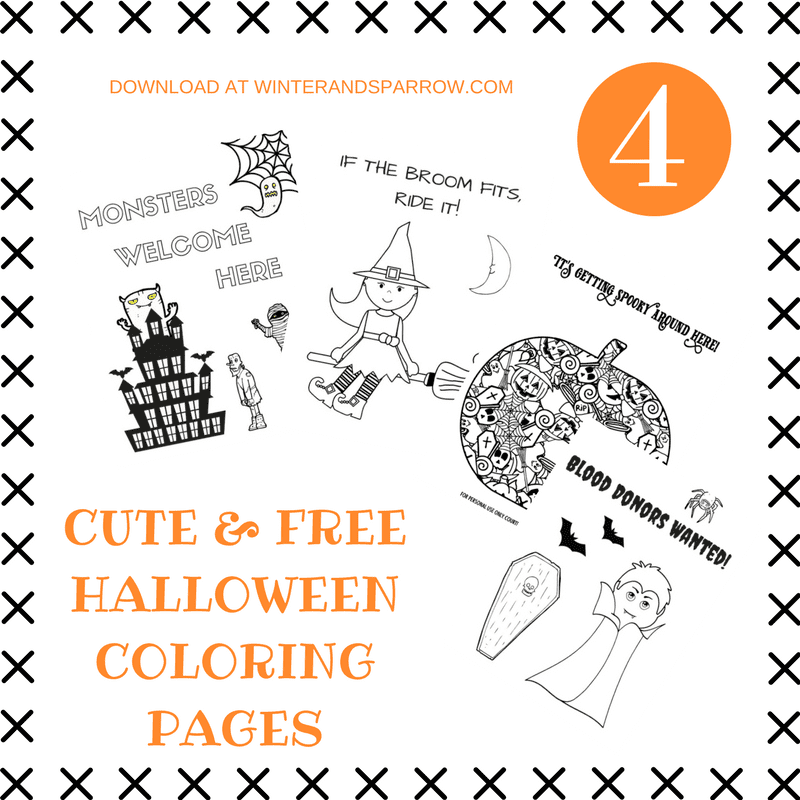 Four Cute And Totally Free Halloween Coloring Pages WINTERANDSPARROWCOM