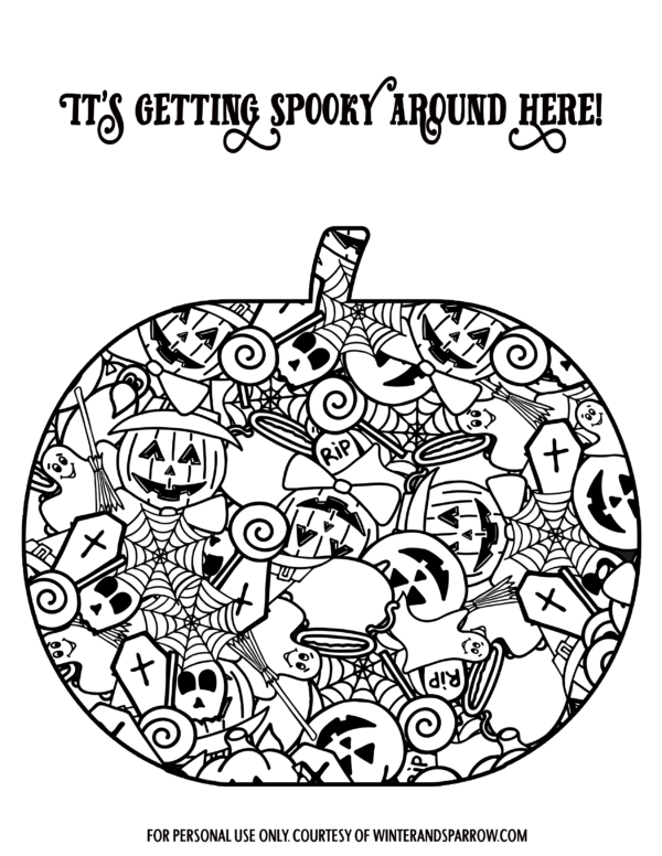 Four Cute (and Totally Free) Halloween Coloring Pages WINTERANDSPARROW.COM #halloween #coloringpages