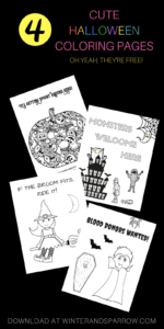Four Cute (and Totally Free) Halloween Coloring Pages #halloween