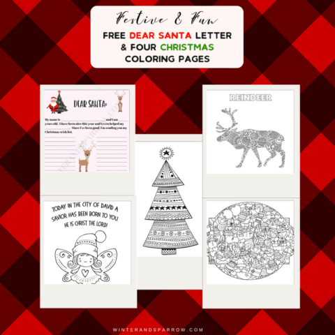 Free Dear Santa Letter + Four Christmas Coloring Pages #christmas