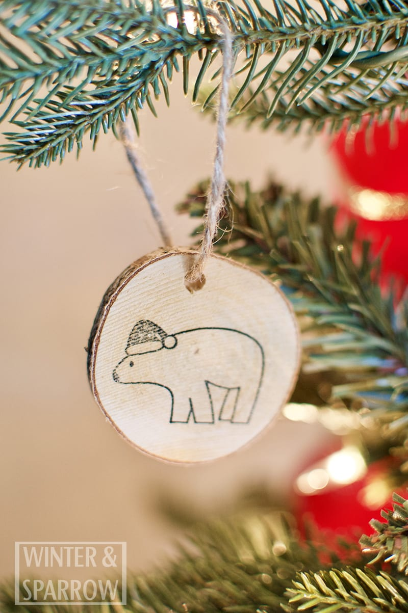 DIY: Hand Stamped Woodland Ornaments + A Slim Profile Christmas Tree Made Merry and Bright winterandsparrow.com #christmastreedecorations #woodlandornaments