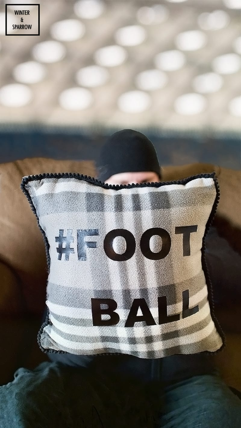 DIY: No-Sew Football Throw Pillow That's Machine Washable  + Try Persil® ProClean® Laundry Detergent From Walmart® For Game Day Clean-Up. #ad #PersilTacklesLaundry