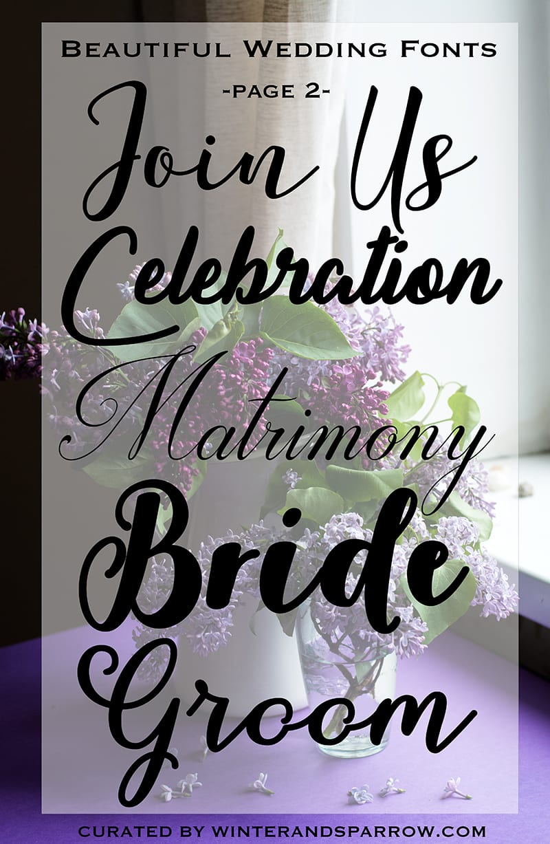 17 Beautiful Wedding Fonts: Calligraphy + Hand-Lettered (Free to Download) winterandsparrow.com