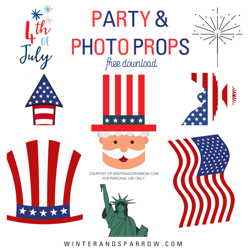 4th Of July Party and Photo Props {Perfect Photo Booth Idea!} winterandsparrow.com #4thofjuly #4thofjulyphotoprops