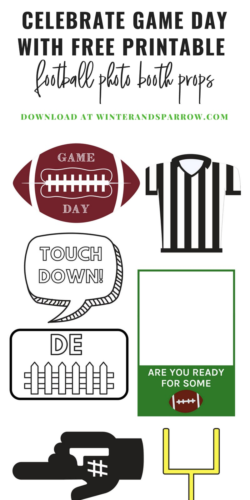 Celebrate Game Day With Free Printable Football Photo Booth Props | winterandsparrow.com #photobooth #footballseason #fridaynightlights