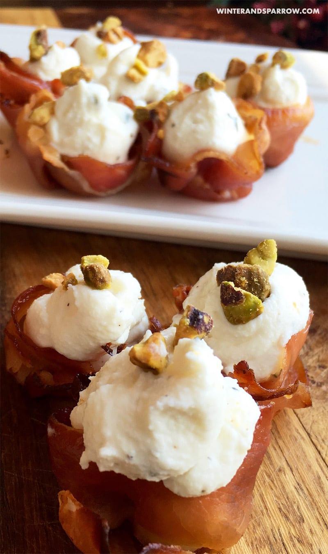 Prosciutto Appetizers Idea:  Decadent Stuffed Prosciutto | winterandsparrow.com #ketorecipesappetizers