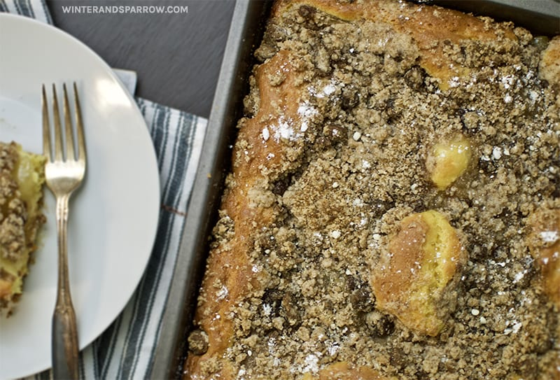15-Minute Apple Cinnamon Coffee Cake with Crumb Topping | winterandsparrow.com #applecinnamonrecipes #coffeecake #easycoffeecakerecipes #easybreakfastrecipes