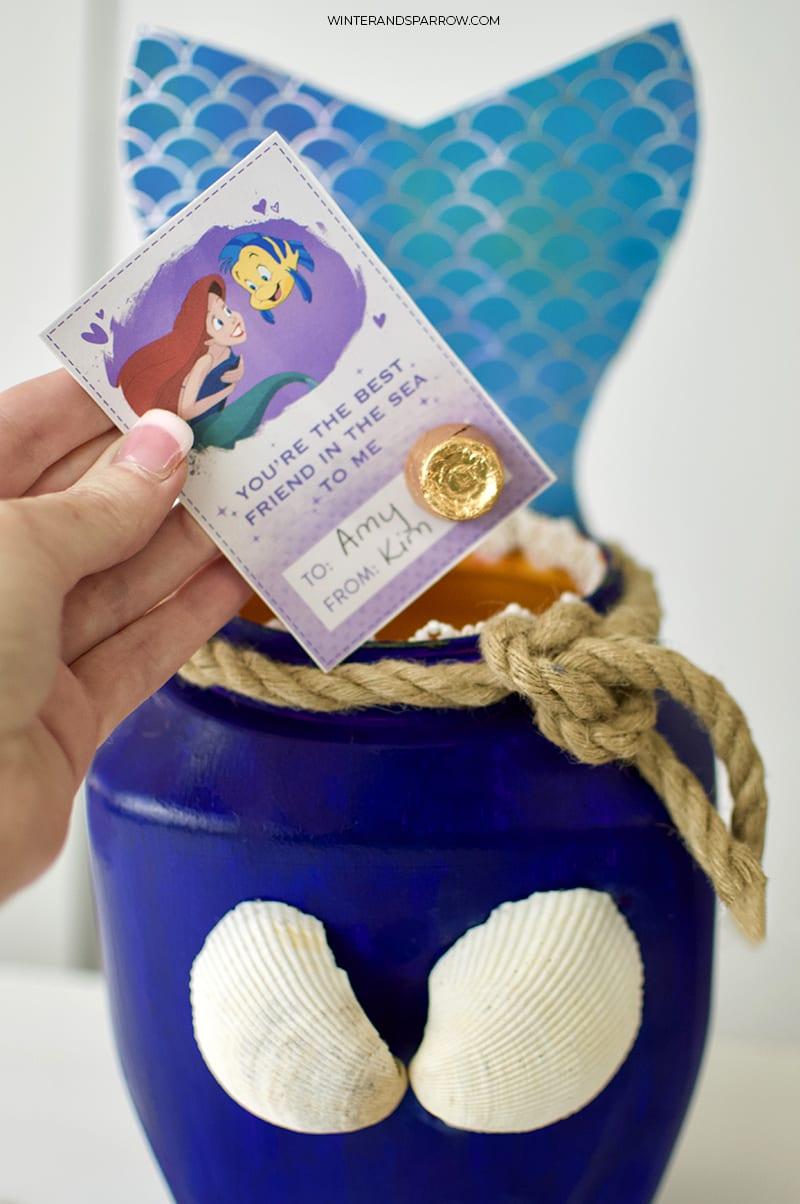 Mermaid DIY Idea: Valentine Card Box or Birthday Party Box | winterandsparrow.com #mermaiddiyideas #mermaiddiy #mermaidbirthdayparty #mermaidpartyideas