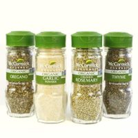 McCormick Gourmet Organic Herbs & Spices (Oregano, Garlic Powder, Crushed Rosemary, Thyme), 4 Count