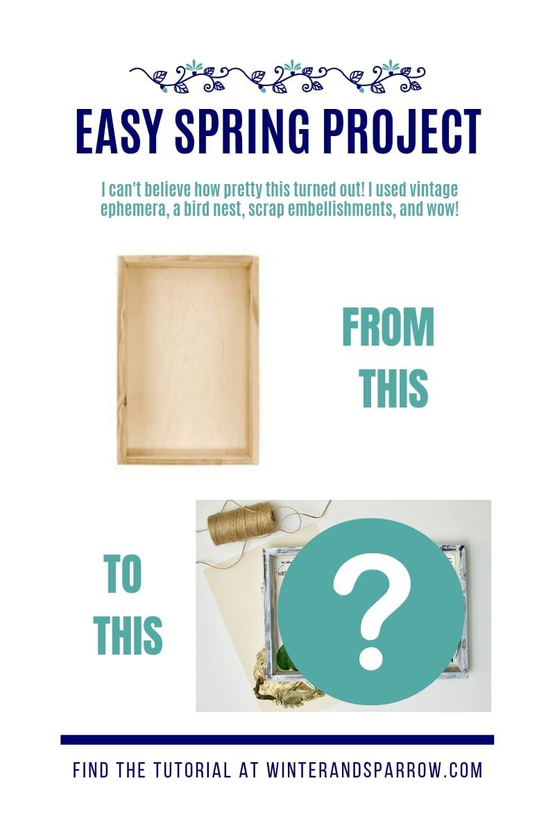 Bird Nest Craft Idea:  A Vintage-Inspired Shadow Box That Only Looks Expensive {Video} | winterandsparrow.com #easyspringcrafts #birdnestcrafts #springcrafts